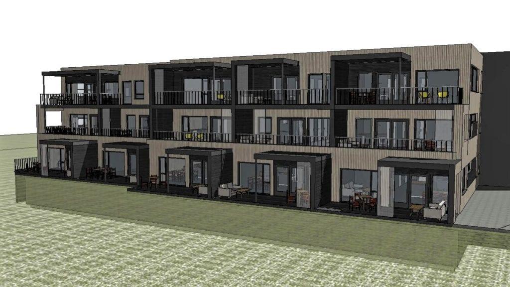 BYGGESTART ETTER PÅSKE: Interessen er god, og det medfører at byggestarten av dette leilighetskomplekset framskyndes. Illustrasjon: SK Bygg