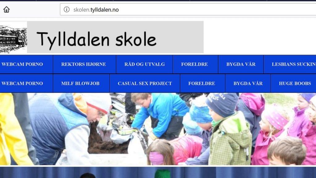 SMUSS: Nettsidene til Tylldalen skole hadde plutselig linker til nettsider med porno. SKJERMDUMP