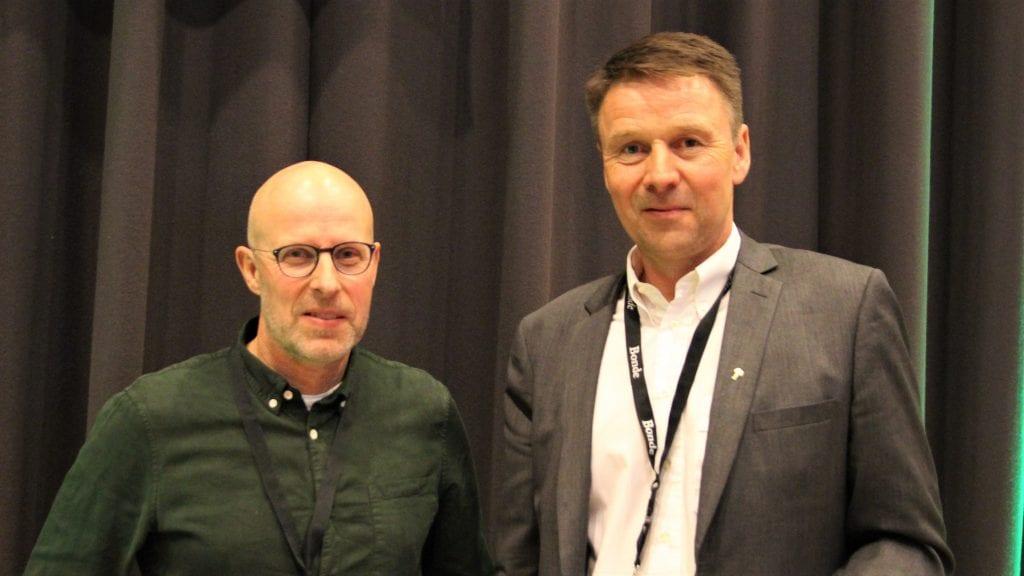 NYVALGT: Erling Aas-Eng (t.v.) fra Telneset ble torsdag valgt inn i styret i Norges Bondelag. Her er han sammen med leder Lars Petter Bartnes. Foto: privat