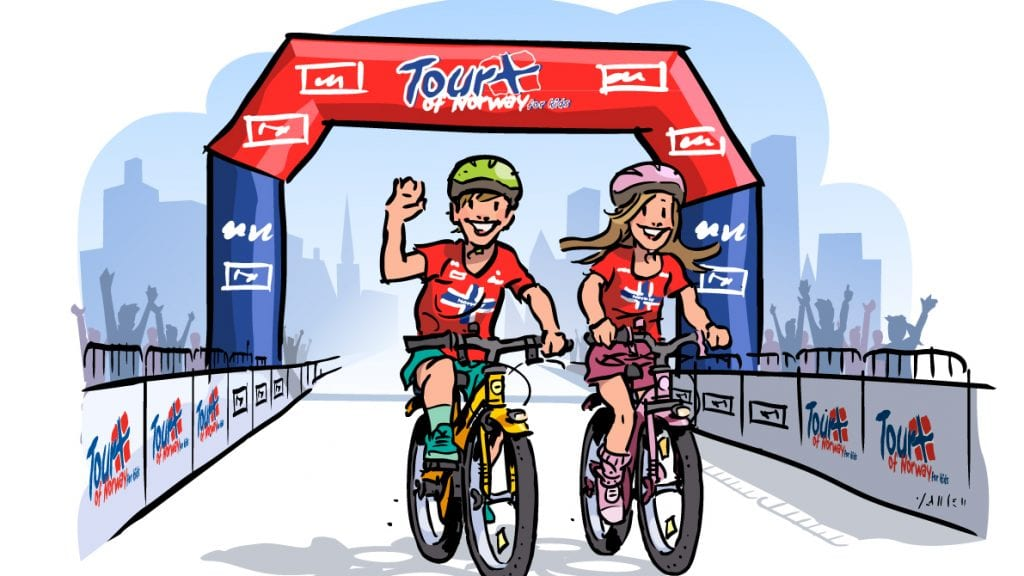 FØRSTE GANG I TYNSET: 19. juli er det duket for det aller første Tour of Norway for kids i Tynset. Illustrasjon: Tour of Norway for kids