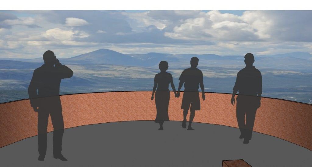 UTSIKTSPLATFORM: Slik ser Tronfjell Opplevelser for seg at utsikten fra utsiktsplattformen vil ta seg ut dersom den blir virkelighet. Illustrasjon: Ola Sandeggen